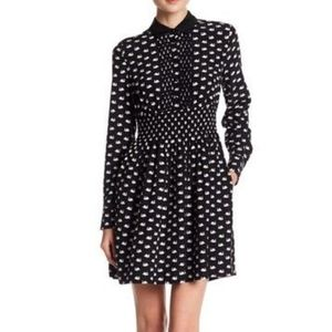 Kate Spade Silk Long Sleeve Swan Shirtdress